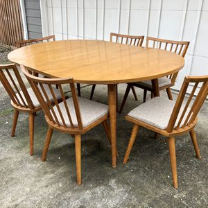Vintage Mid Century Solid Wood Dining Set Table And Chairs for Sale in Tigard, OR