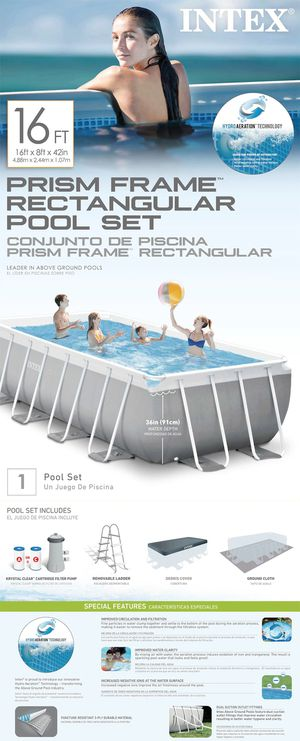 16ft X 8ft X 42in Prism Frame Rectangular Pool Set for Sale in San Diego, CA