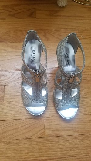 Michael Kors Silver Sandal Heels size 8 for Sale in Silver Spring, MD