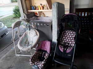 Baby rocker stroller baby changing table baby bed matress and car seat all for 40 for Sale in Watauga, TX