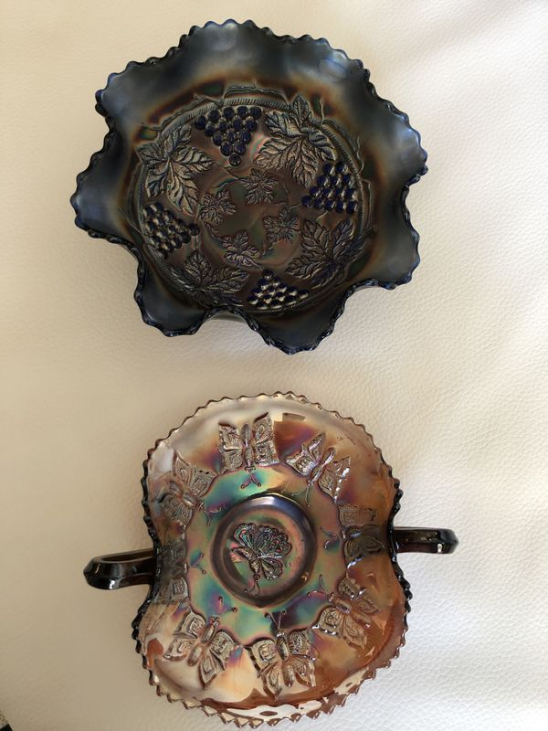 2 Carnival Glass Dishes