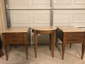 3 Vintage Antique Marble Top End Tables for Sale in Weslaco, TX