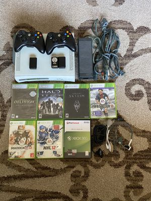 Xbox 360 with 2 controllers, games, and headset for Sale in Vallejo, CA