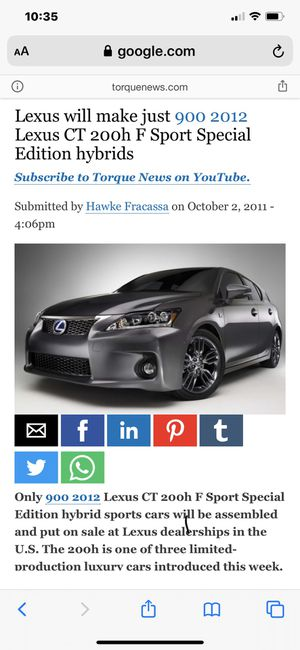 2012 Lexus CT 200h F Sports Special Edition Hybrid for Sale in Federal Way, WA