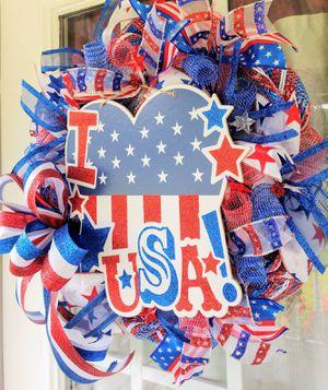 Patriotic Welcome Door Wreath, Americana Wreaths for Sale in Selma, NC
