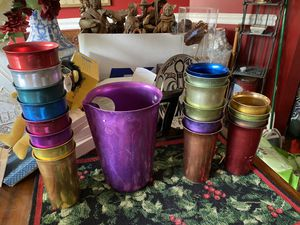 Antique metal pitcher and drinking glasses for Sale in Alexandria, VA
