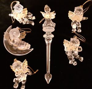 6 Christmas ornaments hard clear resin angels for Sale in Graham, WA