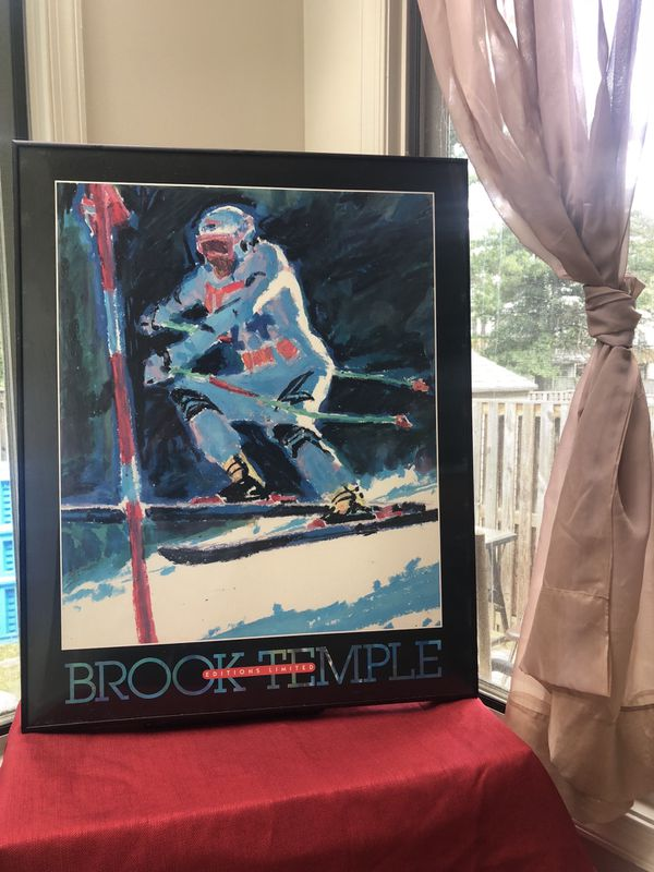 Brook Temple Skiing Poster Print Editions Limited, Susanna Anderson-Carey