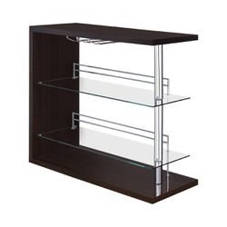 Coaster Modern Pub Home Glossy Cappuccino Bar Table Unit Glass Shelves Wine Rack for Sale in Missouri City,  TX