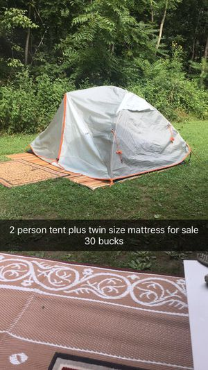 Two person tent and a twin size mattress for Sale in Zanesville, OH