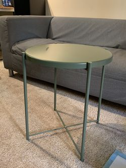 IKEA metal side table round sage green for Sale in Orange,  CA