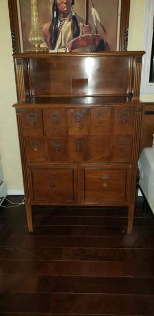 Antique card catalog apothecary cabinet for Sale in San Diego, CA
