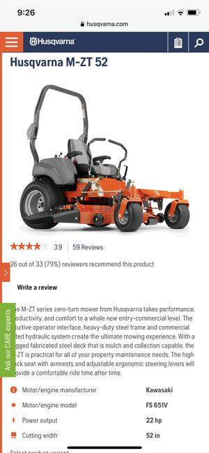 Riding Lawn Mower (Kawasaki 22 Horsepower) Model: M-ZT52 for Sale in Duluth, GA