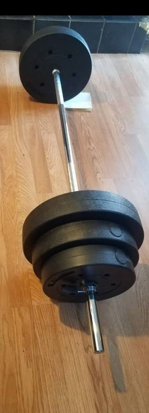 """5 foot standard 1"""" barbell with 2x25lbs 2x15lbs 2x10lbs for Sale in Los Angeles, CA"""