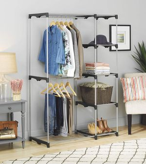 Double Rod Freestanding Closet Heavy Duty Storage Organizer and shelves for Sale in Boynton Beach, FL