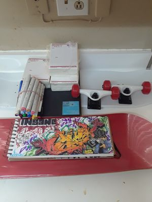 Art supplies plus new original complete skateboard for Sale in Los Angeles, CA