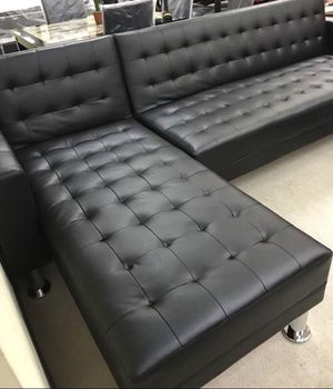 Brand New Black Leather Sectional Sofa Chaise/ Futon for Sale in Stafford, TX
