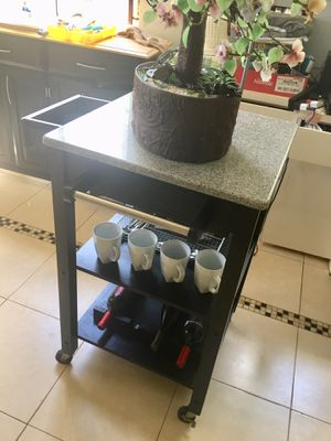 Kitchen Island Table With Removable Marble Top and Wheels Multiple Use. for Sale in Miramar, FL