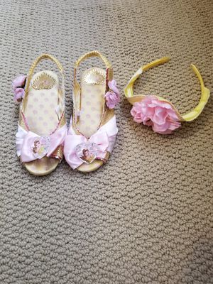 Disney store princess Belle headpiece and little kid shoes size 9/10...Not plastic toy shoes. for Sale in Renton, WA