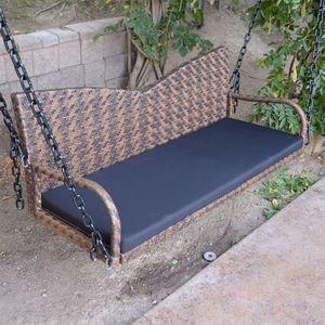 """52"""" Espresso Wicker Porch Swing Outdoor Garden Furniture Patio Hanging Bench Hammock Backyard Chair HG02 for Sale in El Monte, CA"""