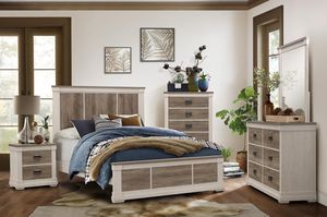 TWO TONES RUCTIC BEDROOM SET WITH A PERFECT CONTRAST BETWEEN ANTIQUE WHITE AND WASHED GREY!!! for Sale in Raleigh, NC