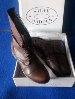 Steve Madden Troopa Brown Leather Zip and Lace Up Combat Boots for Sale in Las Vegas,  NV
