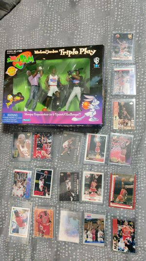 Michael Jordan lot: 24 sports cards, Space Jam Triple play action figure for Sale in Seattle, WA