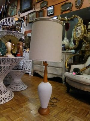 Tall mid-century modern studio pottery and Wood Lamp Light original shade for Sale in La Mesa, CA