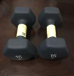 Set of 15 lb dumbbells for Sale in Miami, FL