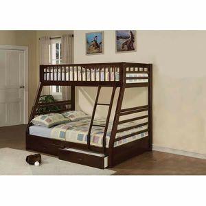 ESPRESSO TWIN OVER FULL SIZE BUNK BED + STORAGE DRAWERS for Sale in Pico Rivera, CA