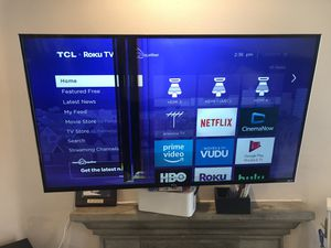 TCL Roku 4K TV 55' slightly cracked screen. Works fine other wise. Can also scrap for parts for Sale in Los Angeles, CA