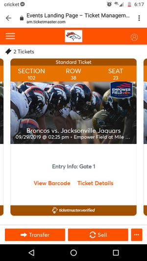 2 bronco jaguar tickets for game tomorrow. for Sale in Colorado Springs, CO