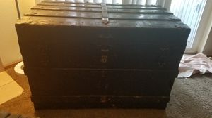 Large Antique Wooden Trunk for Sale in Tacoma, WA