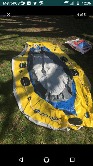 Inflated boat end 5 speed motor wits paddle 4 person wits car lighting pump for Sale in Providence, RI