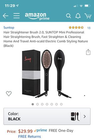Hair Straightener Brush 2.0, SUNTOP Mini Professional Hair Straightening Brush, Fast Straighten & Cleaning Home And Travel Anti-scald Electric Comb S for Sale in Cypress, TX