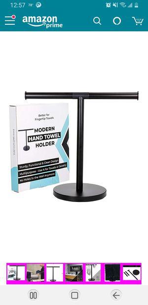 Abodda Design Modern Fingertip | Hand Towel Holder for Bathroom, Kitchen or Vanity, Free Standing Matte Black Countertop Rack with Balanced Base for Sale in Elkridge, MD