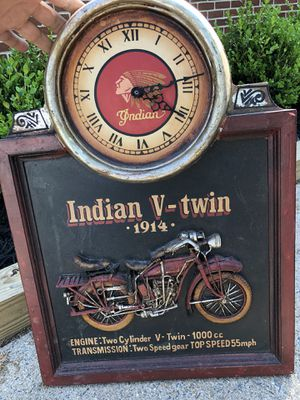 "Indian Motorcycles ""V-Twin 1914"" 3D Faux Wooden Wall Hanging / Picture W/ Clock for Sale in Fairfax, VA"