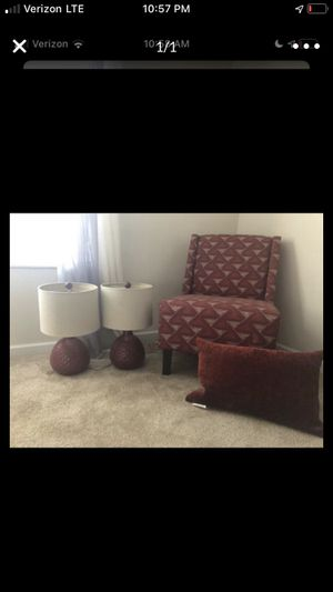 Chair 2 lamp and pillow for Sale in Raleigh, NC