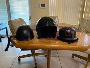 3 motorcycle helmets 1- Harley Davidson and 2- German style half helmets for Sale in North Las Vegas, NV