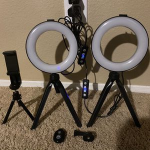 "TWO 6"" LED Ring light 3 Modes, Remote, Tripod Stand for Sale in Fullerton, CA"