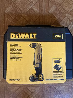 "DEWALT. 20V MAX Lithium-Ion 3/8"" Cordless Compact Right Angle Drill Kit. DCD740C1. for Sale in Brooklyn, NY"