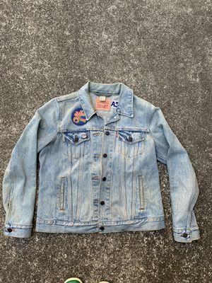 Levi's denim jacket with patches and embroidery size small for Sale in Concord, CA