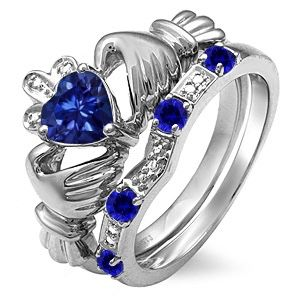 Sapphire claddagh ring and band for Sale in Saugerties, NY
