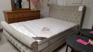 Brand New Queen Size Champagne Suede Platform Bed Frame ONLY for Sale in Silver Spring, MD