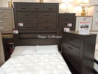 4 PC Bedroom Set (Queen Bed, Dresser Mirror and Nightstand), Charcoal, SKU# ASHB249-4QTC for Sale in Santa Fe Springs,  CA