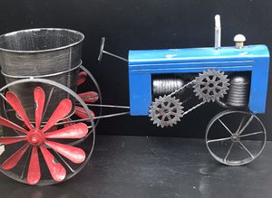Metal Tractor Planter Red Blue & Silver Tractor Large Planter Rustic Metal Tractor Planter for Sale in Alta Loma, CA