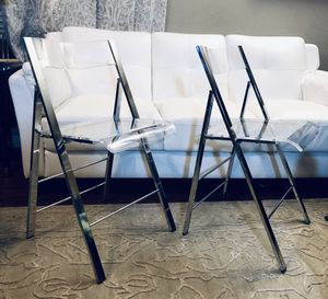 ⭐️New Acrylic Stackable Dining Folding chair Set of 4 or $50 each. PICK UP BY ASHLAN AND TEMPERANCE IN CLOVIS for Sale in Clovis, CA