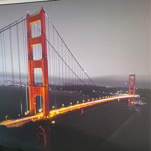 Large Framer Canvas Photo Of Golden Gate Bridge - Good Condition No Rips for Sale in Santa Clara, CA