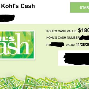 $180 Kohl's Cash valid Through 11/28/20 To 12/9/20 (Email Or Print Delivery, Whatever You Prefer) for Sale in Poughkeepsie, NY