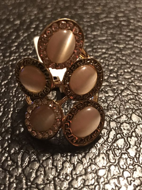 BRAND NEW LADIES RING WITH CREATED PINK CAT'S EYE QUARTZ SIZE 7